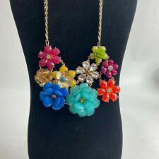 "Large Statement Necklace with Multi Colored Flowers on 19"" Chain"