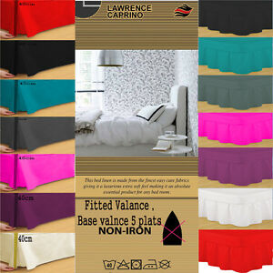 LUXURY PLAIN PLEATED POLY COTTON PLATFORM BASE AND FITTED VALANCE SHEET ALL SIZE