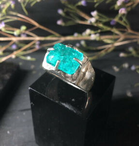 Clovis Emerald Ring, Sterling Silver, Hallmarked, Size W