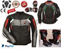 Men Ducati Motorbike Motorcycle Rider Leather Jacket Shoes & Gloves GE-38-2020