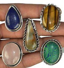 Bulk Lot !! 20 PCs. TIGER EYE & QUARTZ 925 Sterling Silver Plated Ring Jewelry
