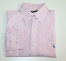 Mens POLO RALPH LAUREN Formal Shirt Pinstripe Striped 16 40/41 Pink White