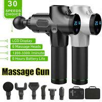 LCD Massage Gun Percussion Massage Deep Tissue Muscle Vibrating Relaxing+6Heads