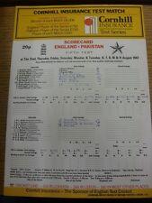06/08/1987 Cricket Scorecard: England v Pakistan [At The Oval] 5 Day Match (scor