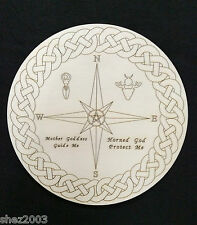 Handcrafted Wooden Ritual Altar Board with Compass, Goddess and God Symbol