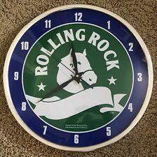 Vintage 2006 Rolling Rock BEER Advertising Large Barware Bar Wall Clock Working