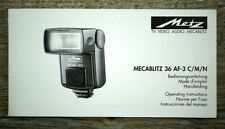Metz Flash Mecablitz manuale di istruzioni 36 af-3 C/M/N User Manual (x6053