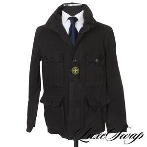 #1 MENSWEAR Stone Island Jet Black Washed Field Parka Jacket Coat + Patch L NR