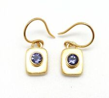 "Silver & Gold Hook Earrings 1"" Michou Blue Iolite September Rectangular Sterling"