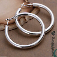 Women's 925 Sterling Silver Filled Big Round Large Hoop Sleeper Earrings #5