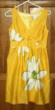 STUDIO 1 Size 8 Womens Dress Yellow Floral Pattern Partial Lined Vneck NICE