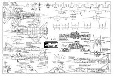 PLS-72054 Mikoyan MiG-31 Foxhound Soviet fighter Full Size Scale Plans (A1 page)