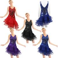 Women Adult Latin Dance Costumes Tango Rumba Ballroom Dance Dress Sequined Skirt