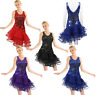 Women Adult Latin Dance Costumes Tango Rumba Ballroom Dance Dress Sequined Skirt