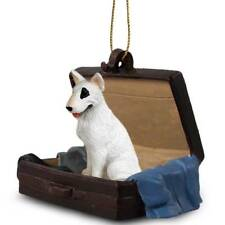 Bull Terrier Traveling Companion Dog Figurine In Suit Case Ornament