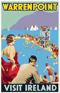 Vintage Visit Ireland Travel Poster Warrenpoint British Railway A2/A3/A4 TX447