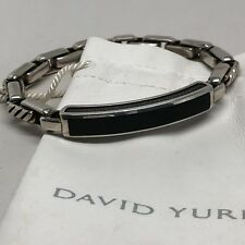 "David Yurman .925 Cable Link Black Onyx I.D. Station Bracelet 8.5"" w/DY Pouch"