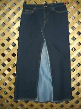 BABY PHAT Long Dark Blue Cotton Blend Denim Jean A Line Skirt Size 11 NEW!