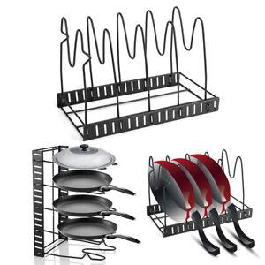 5 Tier Saucepan Pan Pot Organiser Kitchen Pan Rack Cupboard Storage Shelf Metal