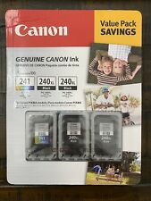 New Genuine Canon 241 Color & (2) 240XL Black Ink Cartridges