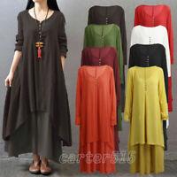 Vintage Women Summer Boho Long Sleeve Cotton Linen Kaftan Maxi Irregular Dress