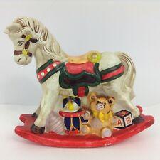 Vintage Rocking Horse Piggy Bank Handpainted Toys Kids Baby