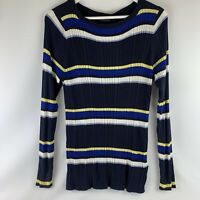 Marks & Spencer collection M&S Navy mix blue striped wool jumper UK 18 BNWT