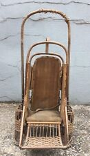 Vintage Antique Withrow Mfg Co Oriole Go-Basket Wicker Baby Stroller Carrier