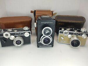 Lot of 3 Argus Cameras Argoflex 620 film and 2 C3 Rangefinders Untested