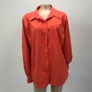 Columbia Women's Silver Ridge Shirt Plus Size 1X L/S Button Polyester Y4-28