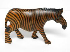 """Vintage Hand Carved Hand Painted Zebra Figurine 4"""" Tall 6.5"""" Long Ex. Vntg. Cond"""