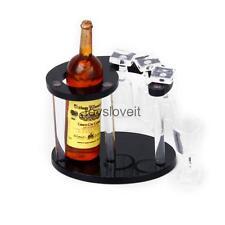 Set bouteille de champagne, 4 verre clair en casier à vin 1:12 maison de poupées miniature