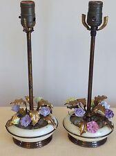 PR Vintage Brass Bronze Toleware Boudoir Lamps Porcelain Roses Gilt Tole Leaves