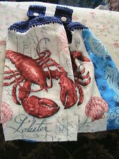 RED LOBSTERS 2 CROCHET TOP kitchen bath hand cottage cabin towels LOBSTER BUTTON