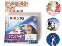 Philips DVD-R 120 Mins 4.7GB 16X Speed Inkjet Printable Blank Discs 5 Pack NEW