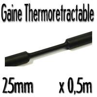 Gaine Thermo Rétractable 2:1 - Diam. 25 mm - Noir - 0,5m