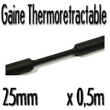Gaine Thermo Rétractable 2:1 - Diam. 25 mm - Noir - 0,5m