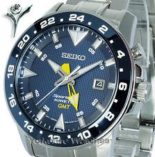 Nuevo SEIKO SPORTURA KINETIC GMT Hora Dual Con Pulsera De Acero Inoxidable SUN017P1