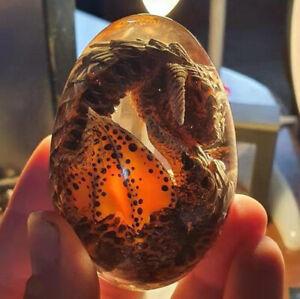 Crystal Transparent Lava Dragon Egg Resin Handmade Sculpture Ornaments Gifts NEW
