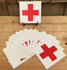Vintage Original NOS RED CROSS First Aid Medical Decals Stickers BY PIECE