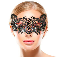 BLACK Lace Metal CAT MASK Masquerade Venetian RED Diamante PROM BALL MASK
