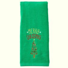"""Embroidered """"Merry Christmas"""" & Tree Bath Hand Towel 16""""x25"""" Cotton Holiday NWT"""