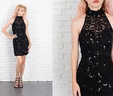 Vintage 70s Sequin Mini Dress Black Lace Cocktail Party XXS