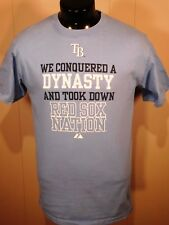 TAMPA BAY RAYS MEN'S T SHIRT M BLUE WE DID IT S. SLEEVE MLB BASEBALL MAJESTIC