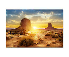 120x80cm Wandbild auf Leinwand Sunset Monument Valley Sonnenaufgang Sinus Art