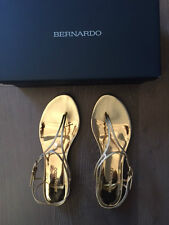 NORDSTROM BERNARDO GOLD METALLIC LEATHER SANDAL THONGS SIZE 7.5-BRAND NEW IN BOX