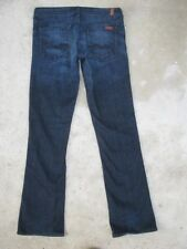 7 For all Mankind Jeans Womens Rocker Low Straight Leg Dark Distressed Sz 28
