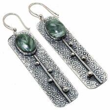 "Seraphinite Gemstone Handmade Ethnic 925 Sterling Silver Earring 2.8"""