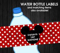 Mickey Mouse Disney Waterproof Birthday Water Bottle Labels