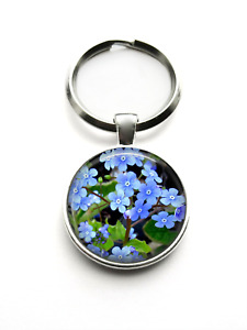 Silver Plated Forget Me Not Flower Photo Art Keyring